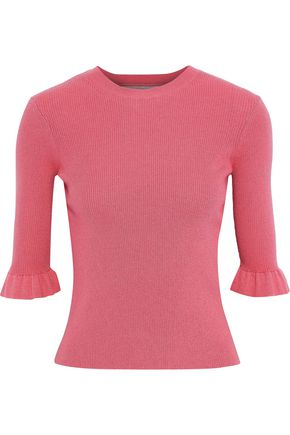 REDValentino Point d'esprit-paneled ribbed cashmere and silk-blend sweater