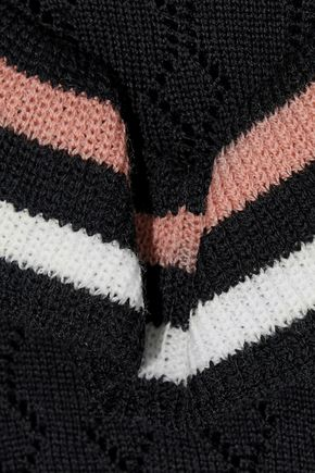 REDValentino Ruffle-trimmed pointelle-knit wool sweater