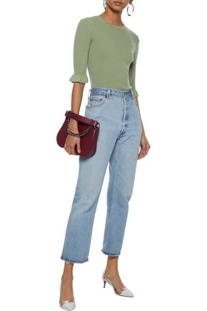 REDValentino Cropped ribbed cashmere and silk-blend sweater