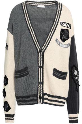 SAINT LAURENT Appliquéd intarsia-knit cotton cardigan