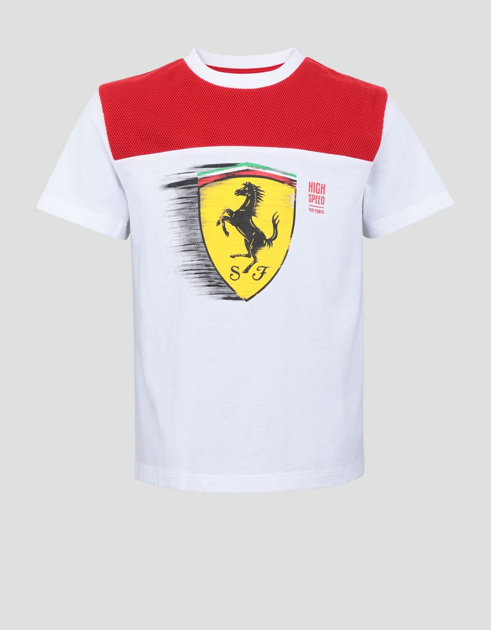 Scuderia Ferrari Online Store - Child's T-shirt with dynamic Ferrari Shield print - Short Sleeve T-Shirts