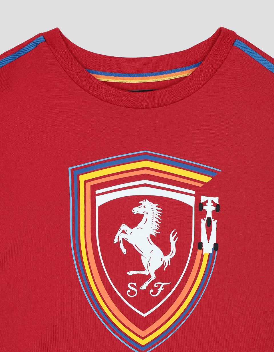 Scuderia Ferrari Online Store - Children's cotton T-shirt with Ferrari Shield -