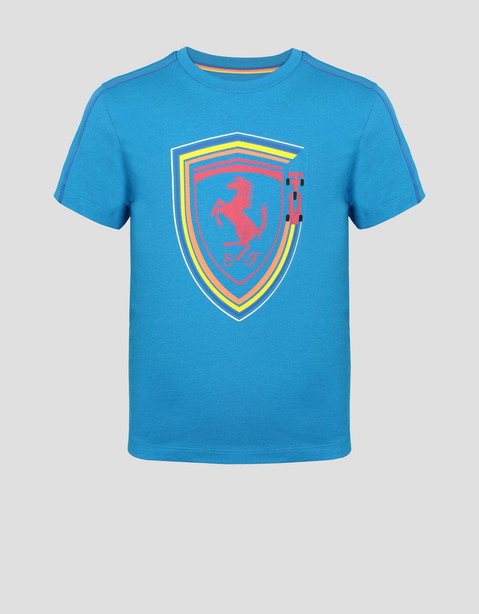 Scuderia Ferrari Online Store - Children's cotton T-shirt with Ferrari Shield - Short Sleeve T-Shirts