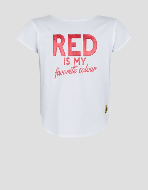 "Girls' T-shirt with ""RED IS MY FAVORITE COLOUR"" in glitter print"
