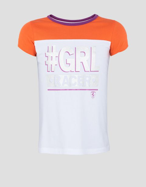 "Girls' T-shirt with laminated #""GIRL RACER"" print"
