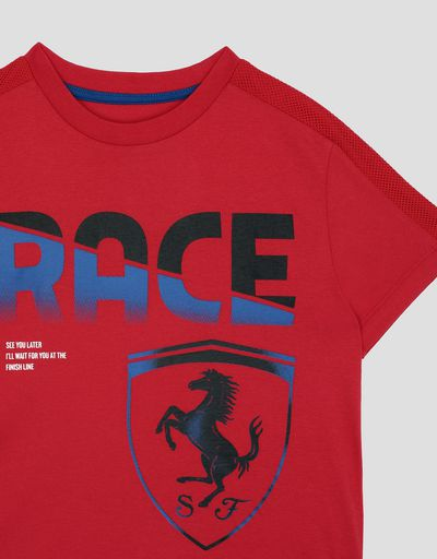 "Scuderia Ferrari Online Store - Children's cotton T-shirt with ""RACE"" print -"