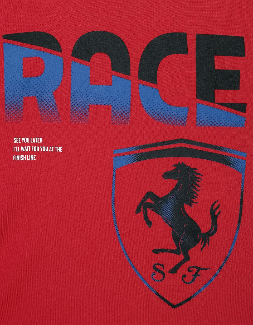 Scuderia Ferrari Online Store - Children's cotton T-shirt with RACE print - Short Sleeve T-Shirts