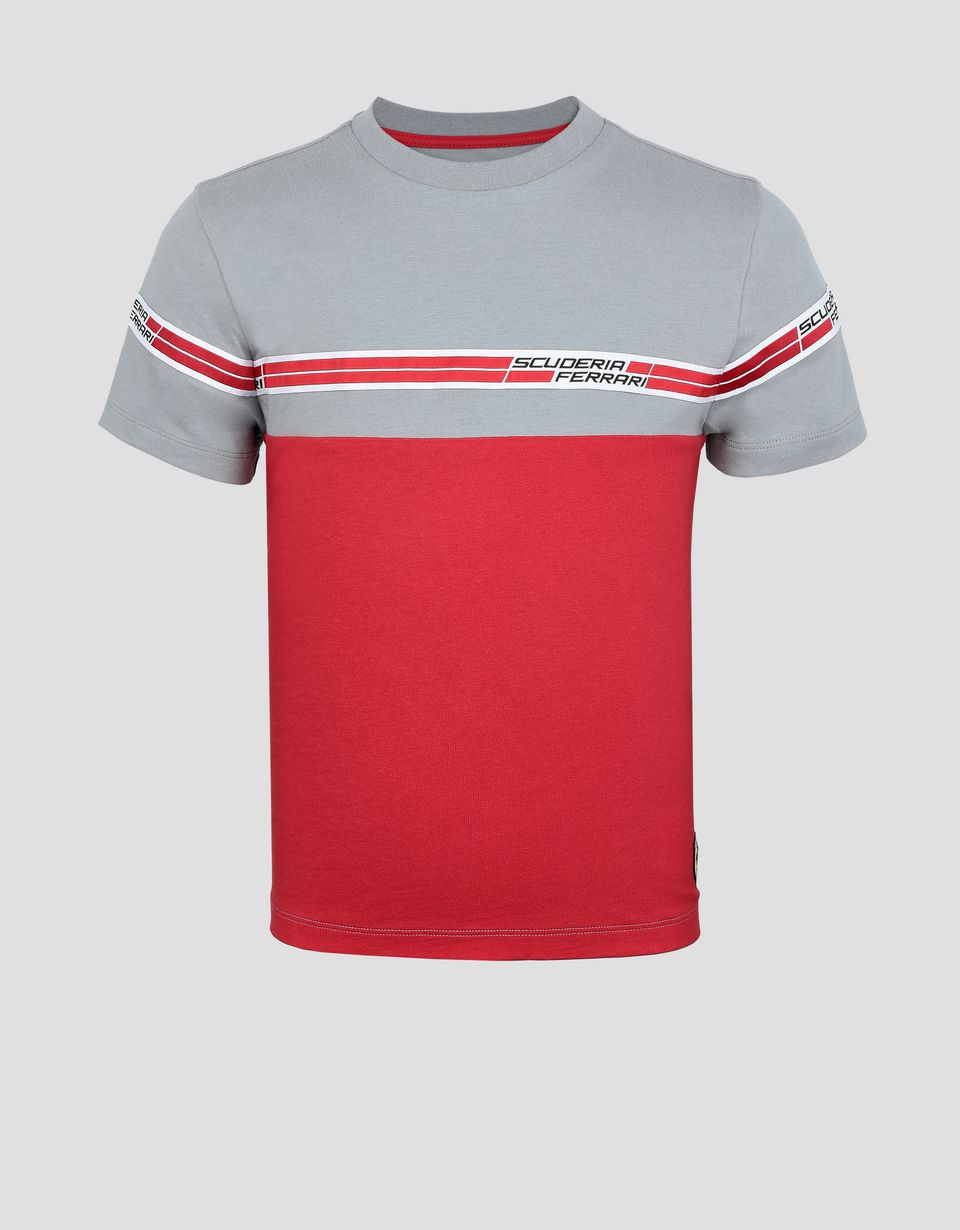 Scuderia Ferrari Online Store - Child's T-shirt with Scuderia Ferrari Icon Tape - Short Sleeve T-Shirts