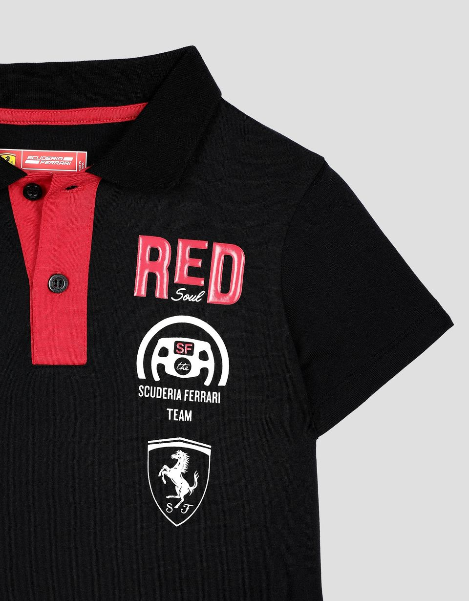"Scuderia Ferrari Online Store - Children's cotton polo shirt with ""RACE"" print - Short Sleeve Polos"