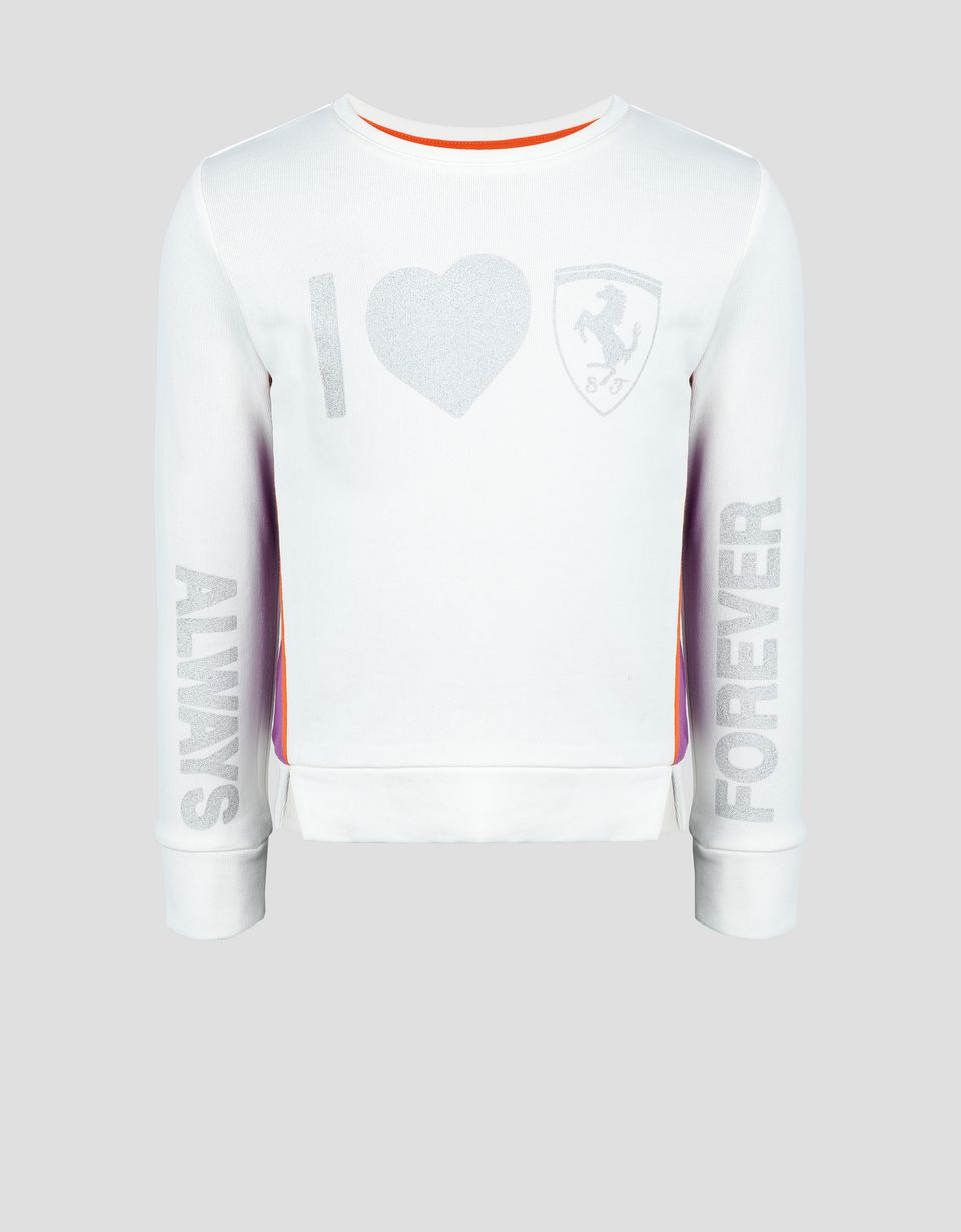Scuderia Ferrari Online Store - Girls' printed French terry top - Crew Neck Sweaters