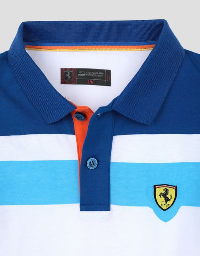 Scuderia Ferrari Online Store - Child's cotton polo shirt with coloured stripes - Short Sleeve Polos
