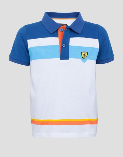 Children's cotton polo shirt with colorful stripes