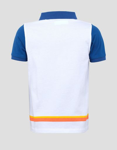Child's cotton polo shirt with coloured stripes