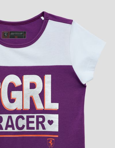 Scuderia Ferrari Online Store - Little girl's T-shirt with #GIRL RACER laminated print - Short Sleeve T-Shirts