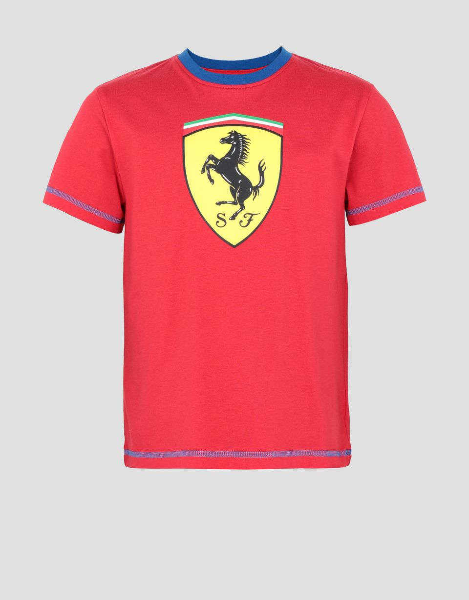 Scuderia Ferrari Online Store - Scuderia Ferrari child's T-shirt in cotton jersey with contrast stitching - Short Sleeve T-Shirts