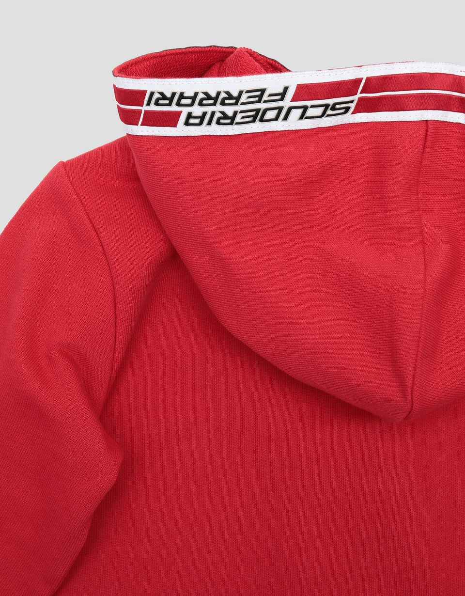 Scuderia Ferrari Online Store - Infant's French Terry sweatshirt with Icon Tape - Zip Hood Jumpers