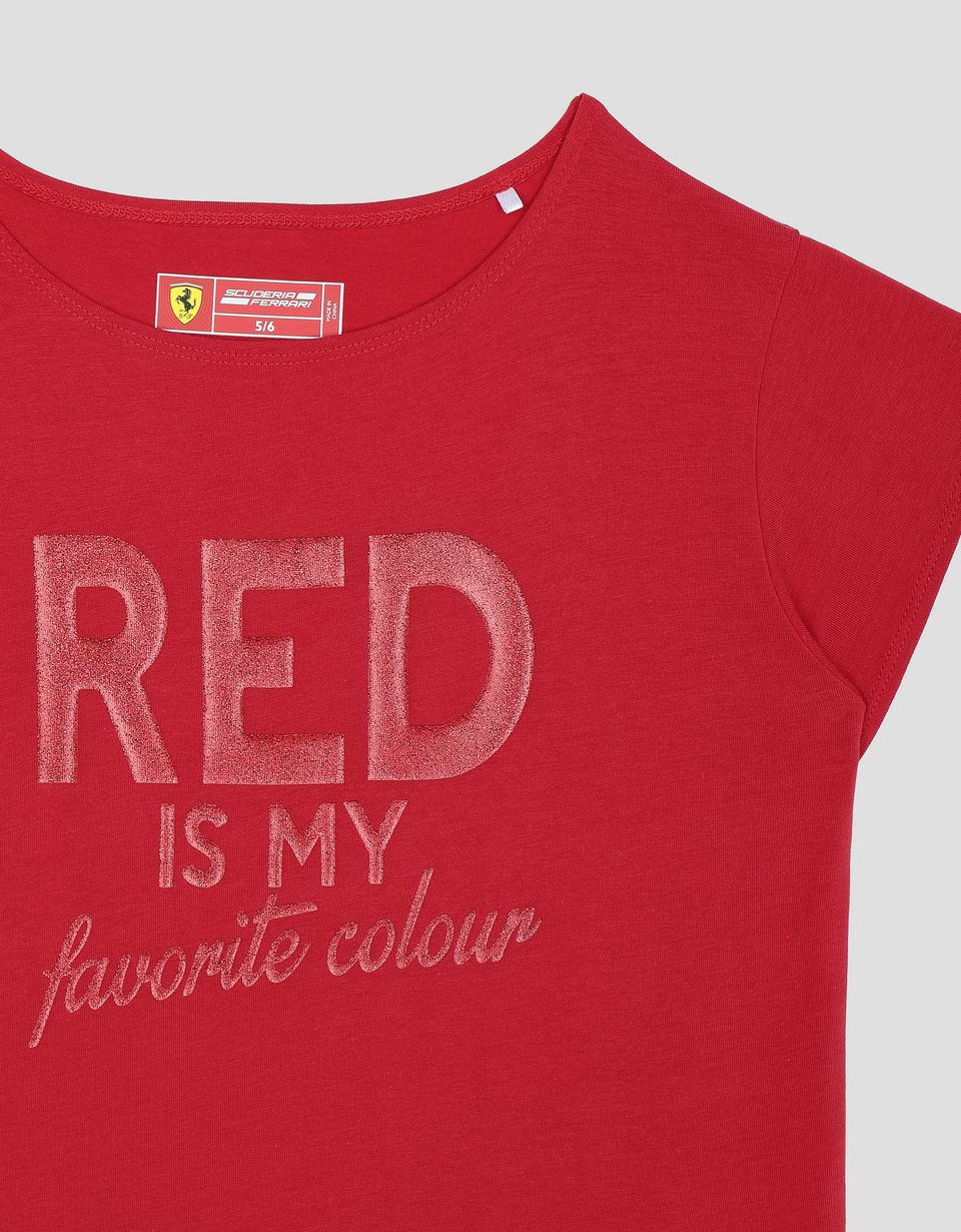 "Scuderia Ferrari Online Store - Girls' T-shirt with ""RED IS MY FAVORITE COLOUR"" in glitter print - Short Sleeve T-Shirts"