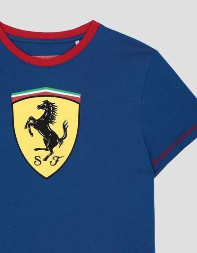 Scuderia Ferrari Online Store - Scuderia Ferrari キッズ用Tシャツ コットンジャージー製 コントラストステッチ入り - 半袖Tシャツ