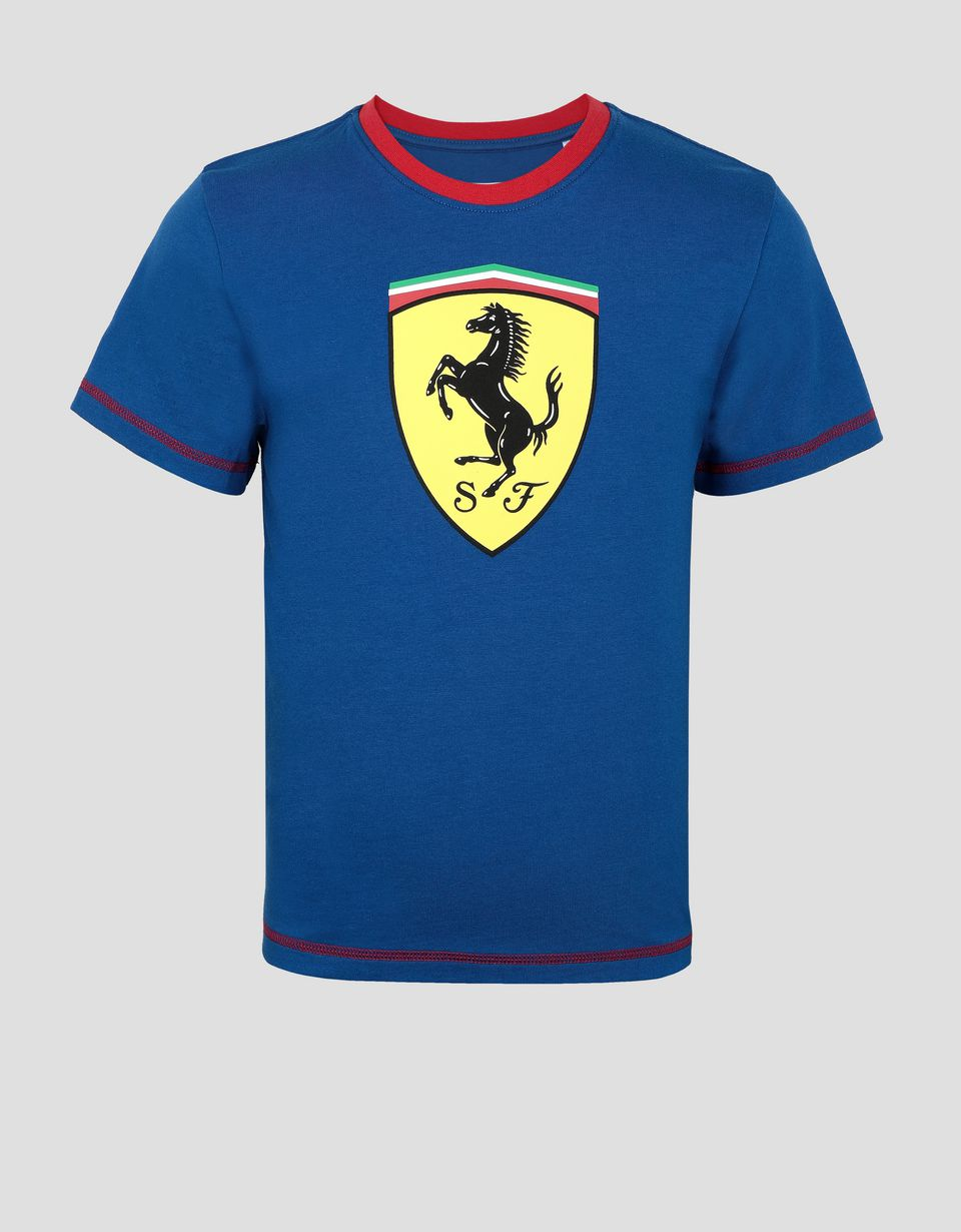 Scuderia Ferrari Online Store - Scuderia Ferrari Kinder-T-Shirt aus Jersey mit kontrastfarbenen Nähten - Kurzärmelige T-Shirts