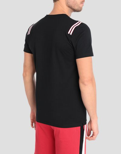 Men's jersey T-shirt with knit inserts