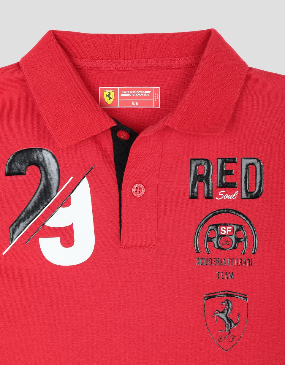 Scuderia Ferrari Online Store - Child's cotton polo shirt with RACE print - Short Sleeve Polos