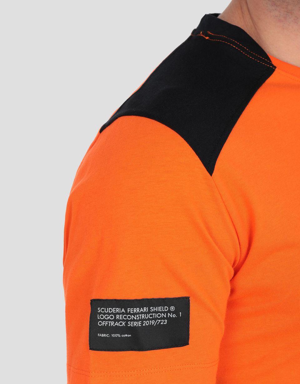 Scuderia Ferrari Online Store - T-shirt uomo in cotone con inserti a contrasto - T-shirt manica corta