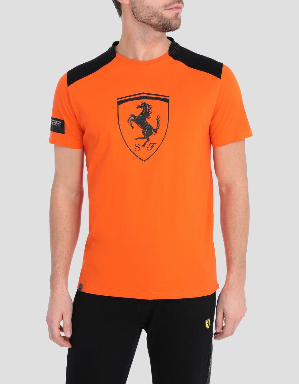 Scuderia Ferrari Online Store - Men's cotton T-shirt with contrasting inserts -