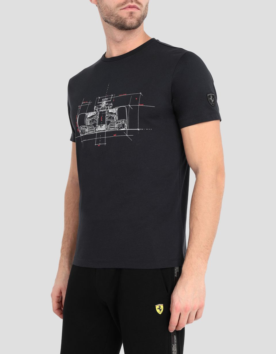 Scuderia Ferrari Online Store - Men's cotton T-shirt with racing car print - Short Sleeve T-Shirts