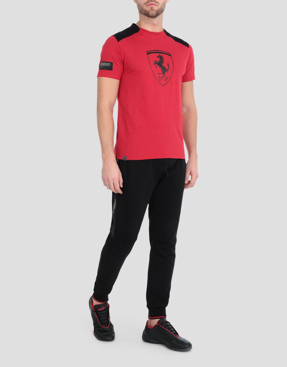 Scuderia Ferrari Online Store - Men's cotton T-shirt with contrasting inserts - Short Sleeve T-Shirts
