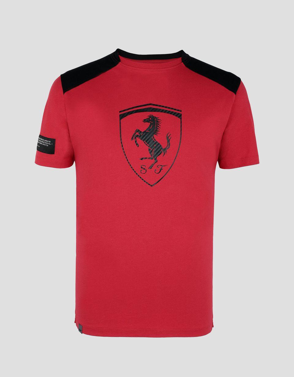 Scuderia Ferrari Online Store - T-shirt homme en coton avec empiècements contrastants - T-shirts à manches courtes