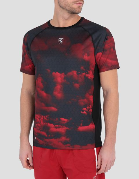 Men's running T-shirt with Red Clouds print