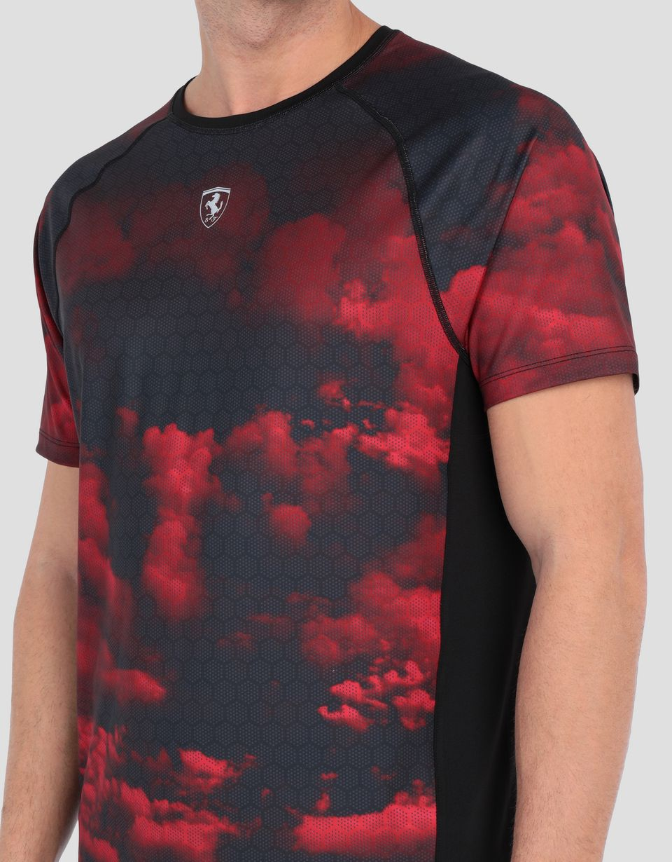 Scuderia Ferrari Online Store - Men's running T-shirt with Red Clouds print -