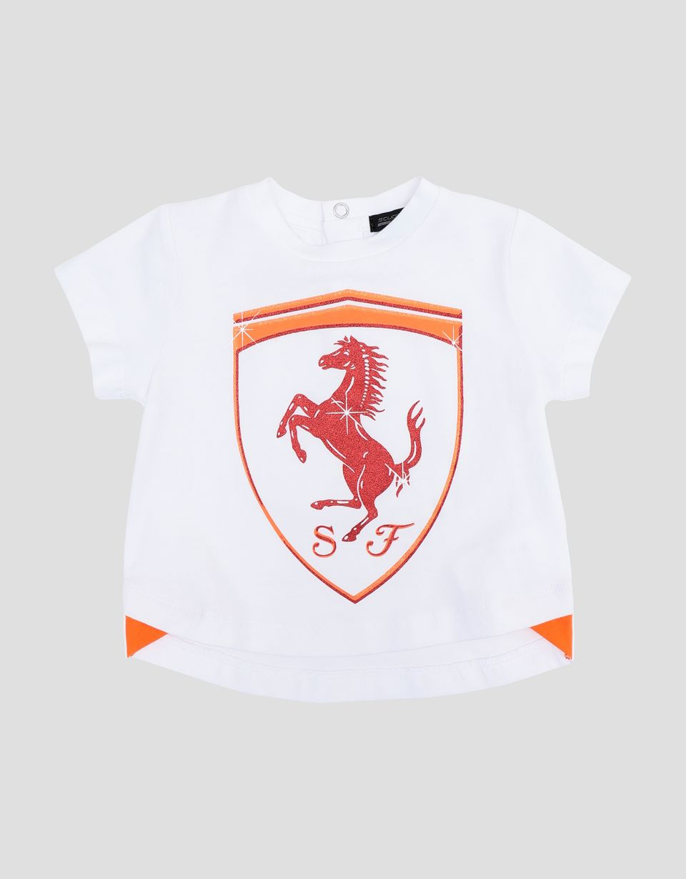 Scuderia Ferrari Online Store - Infant T-shirt with glitter Ferrari Shield - Short Sleeve T-Shirts