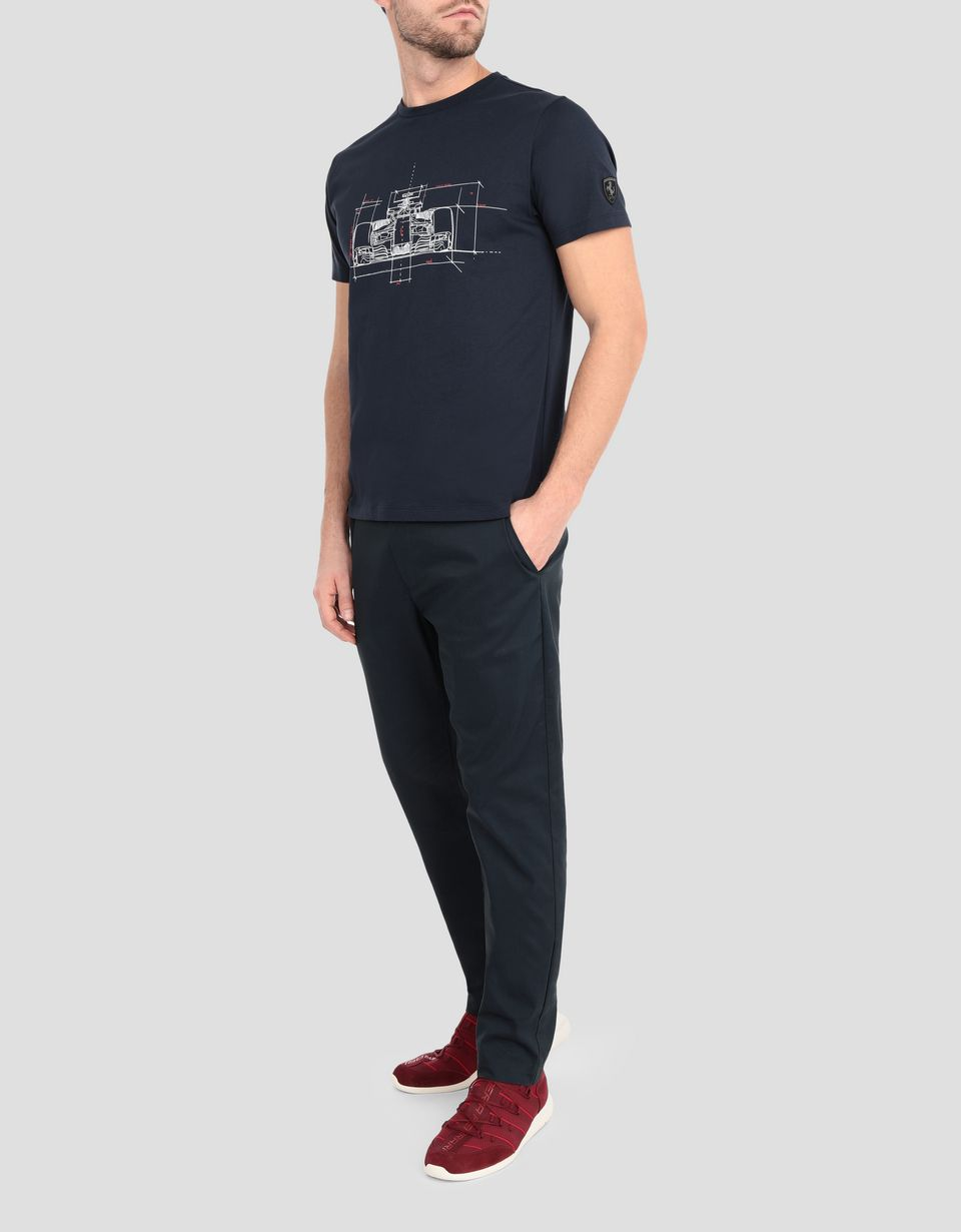 Scuderia Ferrari Online Store - Men's cotton T-shirt with racing car print -