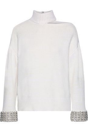 ALICE + OLIVIA Cutout embellished knitted sweater