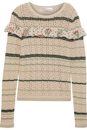 REDValentino Ruffled silk-trimmed striped  cotton sweater