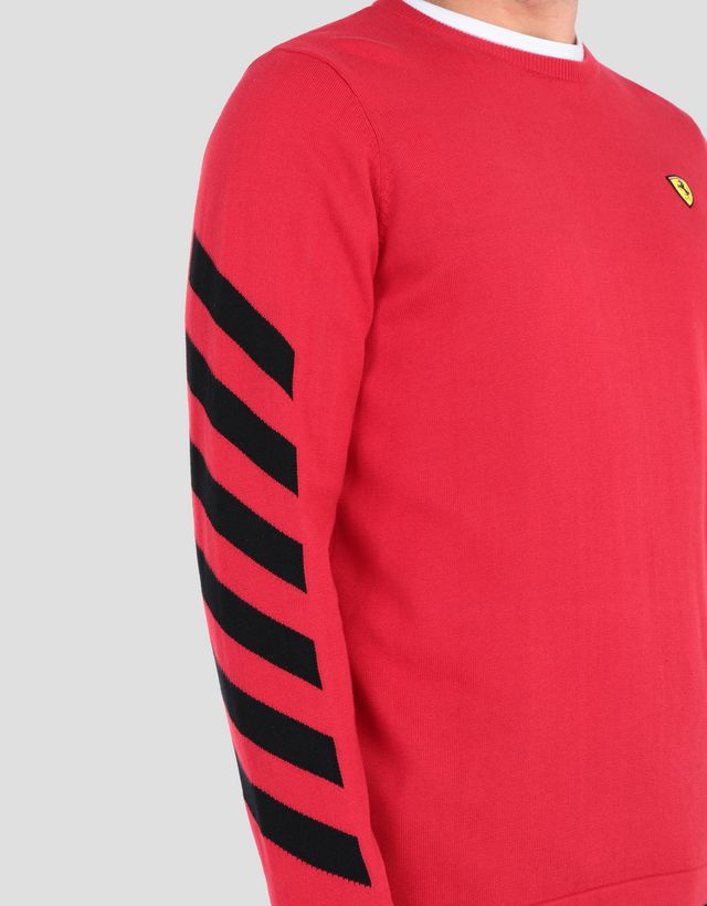 60f5bd5fa849 ... Scuderia Ferrari Online Store - Men s printed cotton tricot sweater -  Crew Neck Sweaters ...