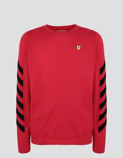 Scuderia Ferrari Online Store - Men's printed cotton tricot sweater - Crew Neck Sweaters