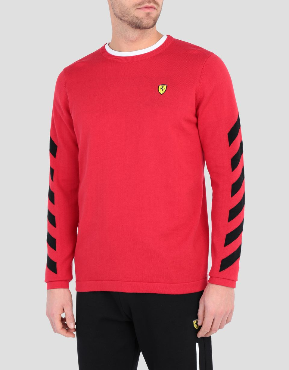 Scuderia Ferrari Online Store - Men's tricot cotton jersey with print - Crew Neck Jumpers