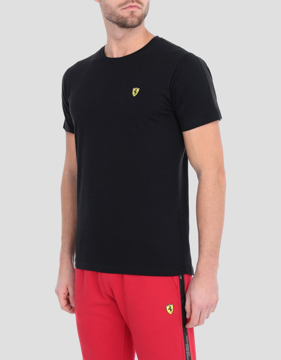 Scuderia Ferrari Online Store - Men's stretch jersey T-shirt with Icon Tape - Short Sleeve T-Shirts