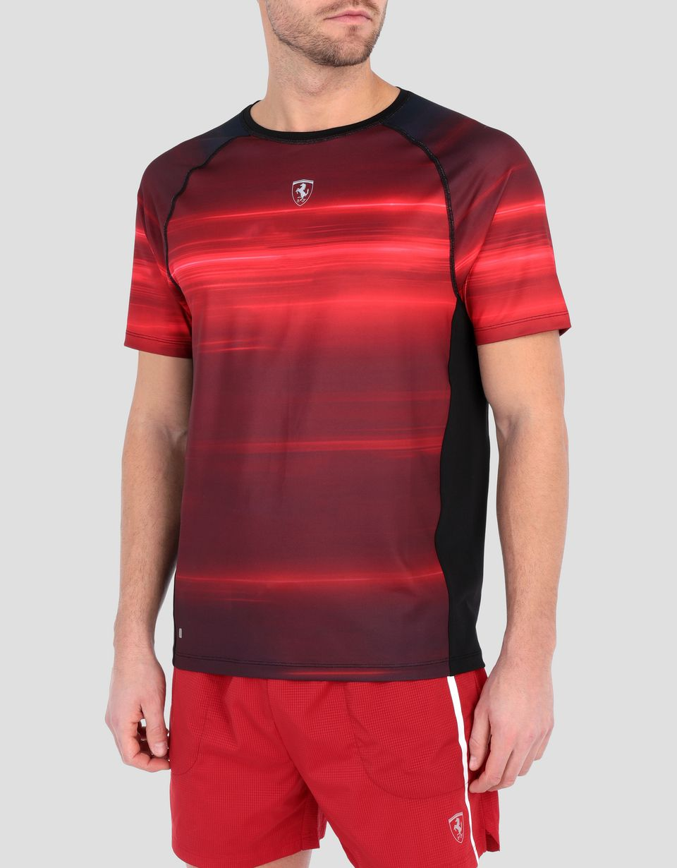 Scuderia Ferrari Online Store - Men's T-shirt in technical fabric with print - Short Sleeve T-Shirts