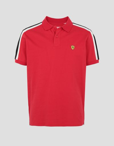 Scuderia Ferrari Online Store - Men's piqué cotton polo shirt with Icon Tape - Short Sleeve Polos