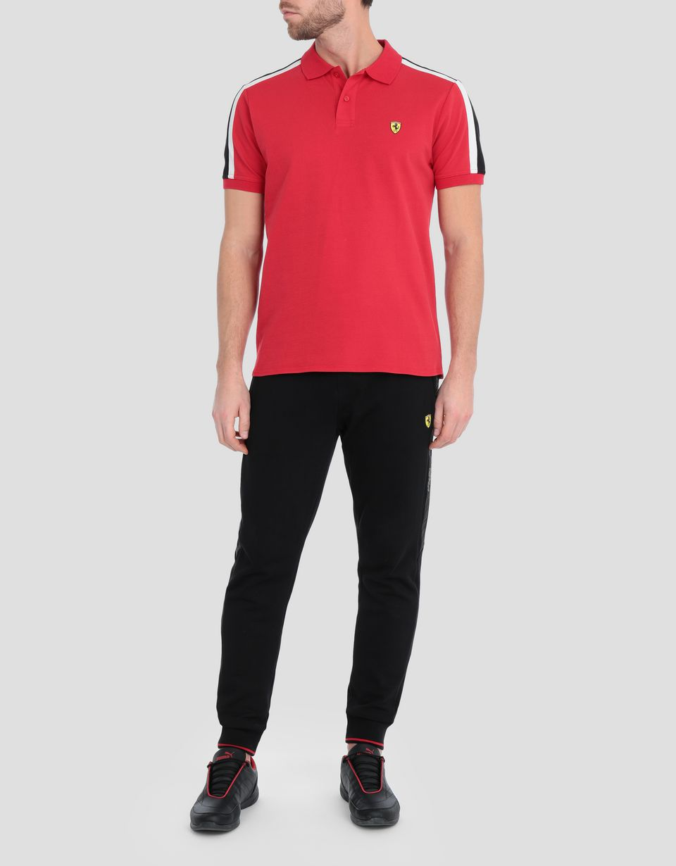 Scuderia Ferrari Online Store - Men's piqué cotton polo shirt with Icon Tape -
