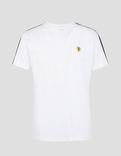 Scuderia Ferrari Online Store - Men's T-shirt in stretch jersey with Icon Tape - Short Sleeve T-Shirts