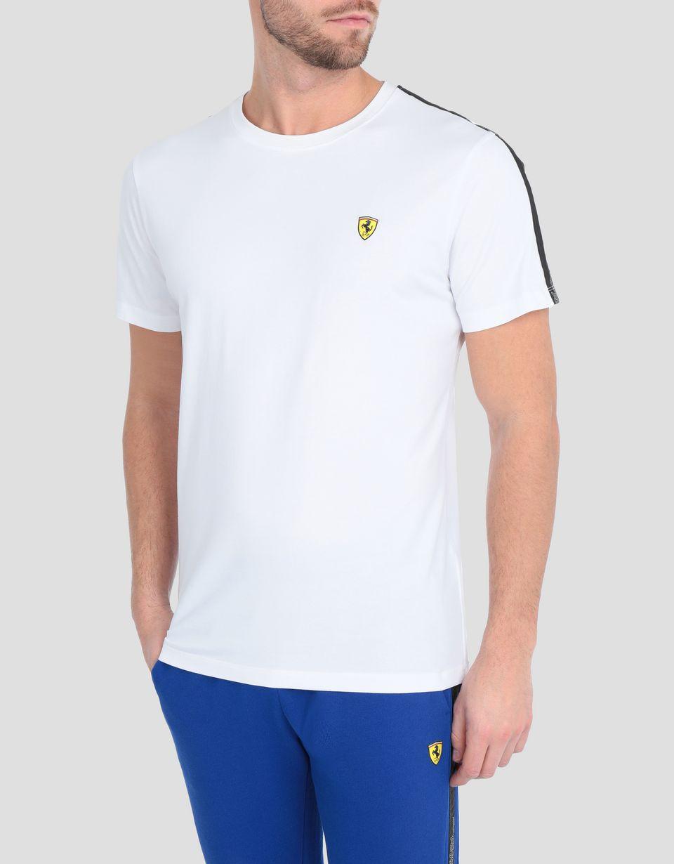Scuderia Ferrari Online Store - T-shirt uomo in jersey stretch con Icon Tape - T-shirt manica corta