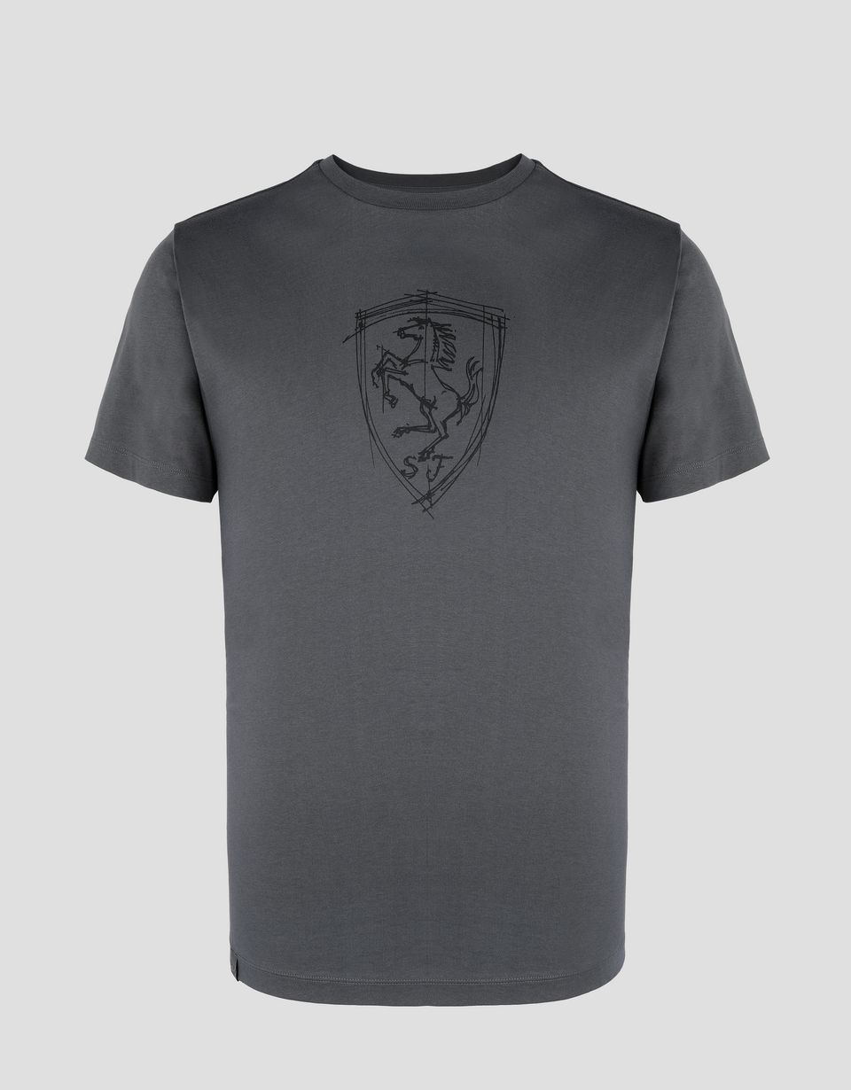 Scuderia Ferrari Online Store - Men's cotton jersey T-shirt with print - Short Sleeve T-Shirts