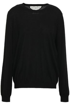 REDValentino Point d'esprit-paneled cashmere and silk-blend sweater