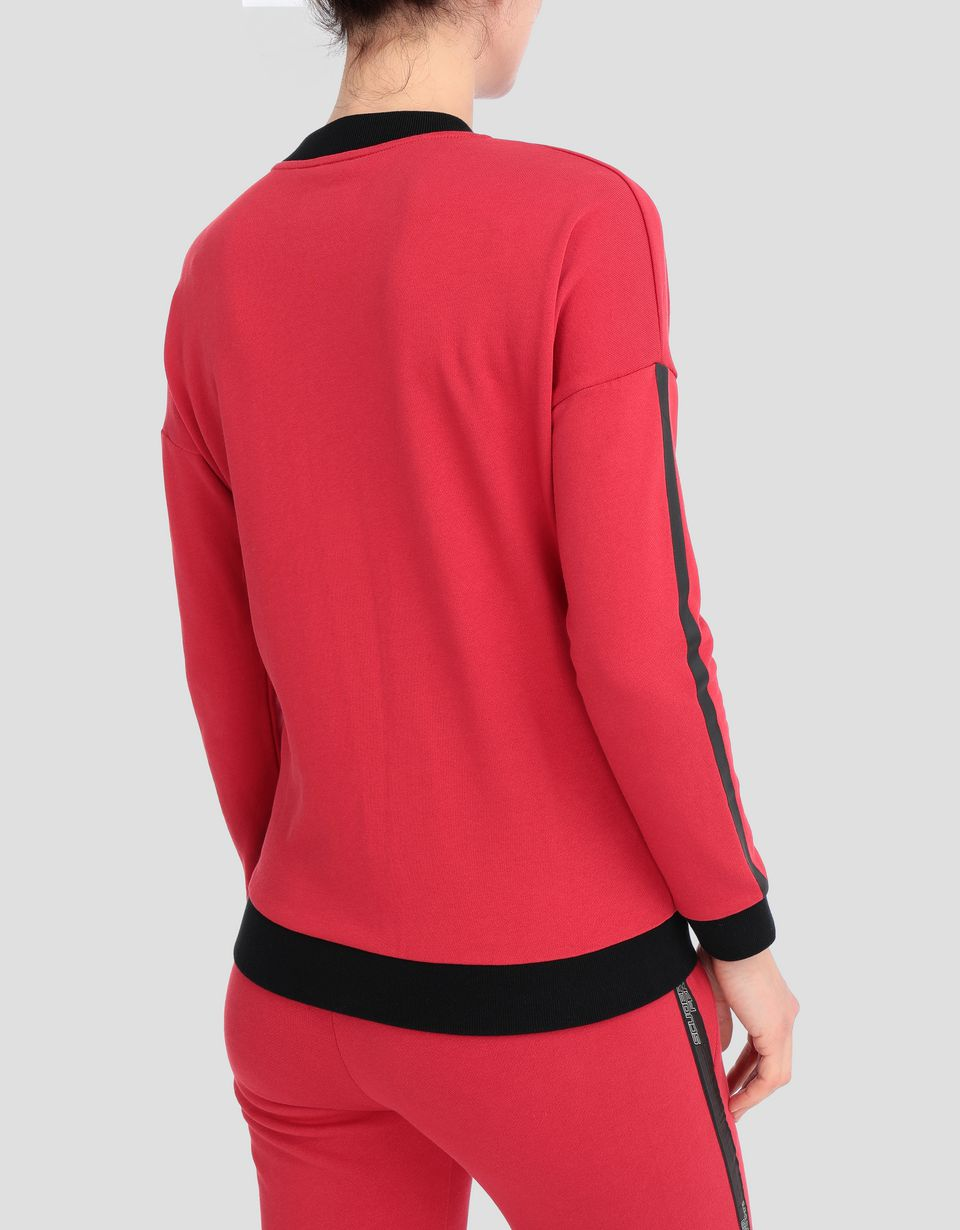 Scuderia Ferrari Online Store - Women's sweatshirt with full zip and print stripes on the sleeves - Zip Jumpers