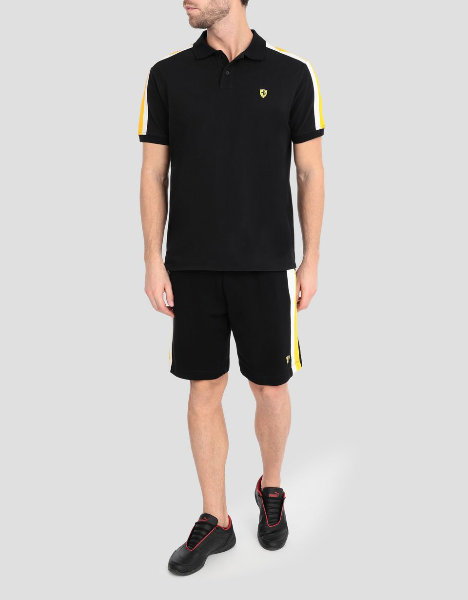 Scuderia Ferrari Online Store - Men's cotton piquet polo shirt with Icon Tape - Short Sleeve Polos