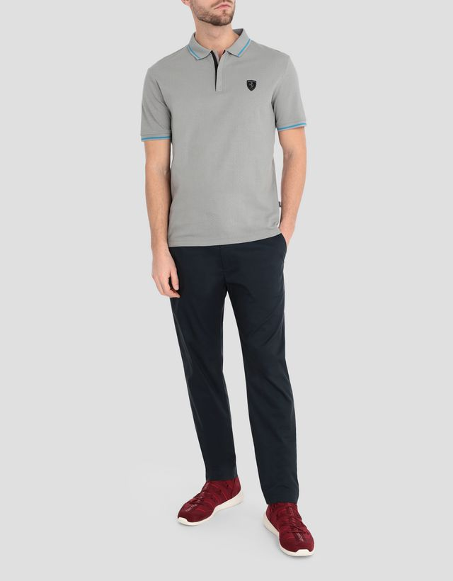 Scuderia Ferrari Online Store - Men's jacquard jersey polo shirt with zip - Short Sleeve Polos